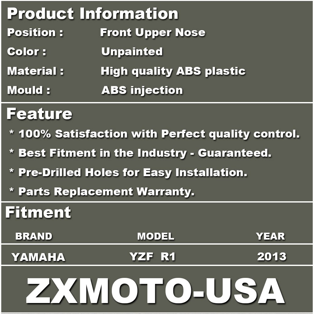 Individual Motorcycle Fairing ZXMOTO Unpainted Front Upper Nose Fairing for YAMAHA YZF R1 2012-2014