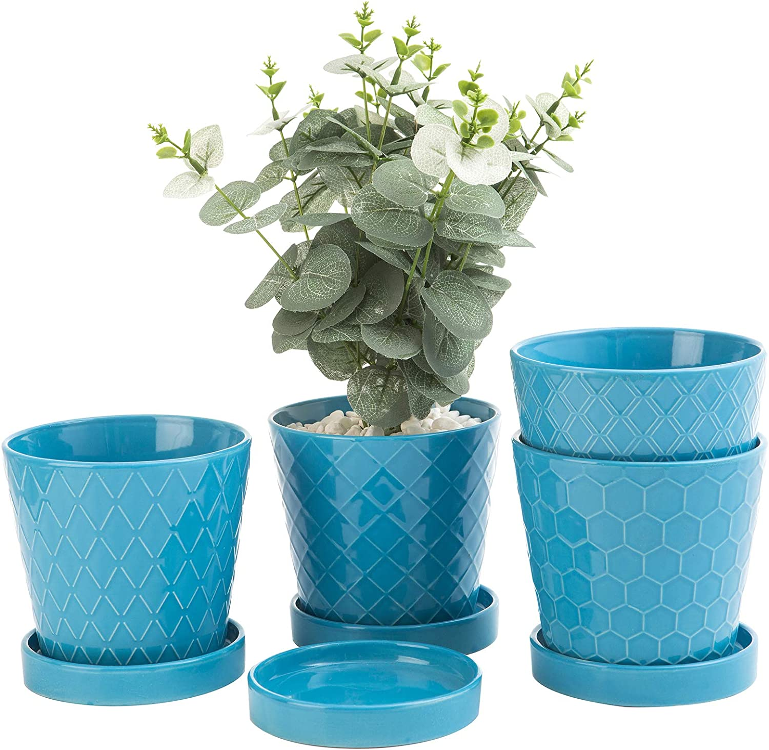 EFISPSS Flower Planter –5 inch Ceramic Plant Pots with Drainage Holes and Ceramic Tray - Gardening Home Desktop Office Windowsill Decoration Gift Set of 4 - Plants NOT Included (Blue)
