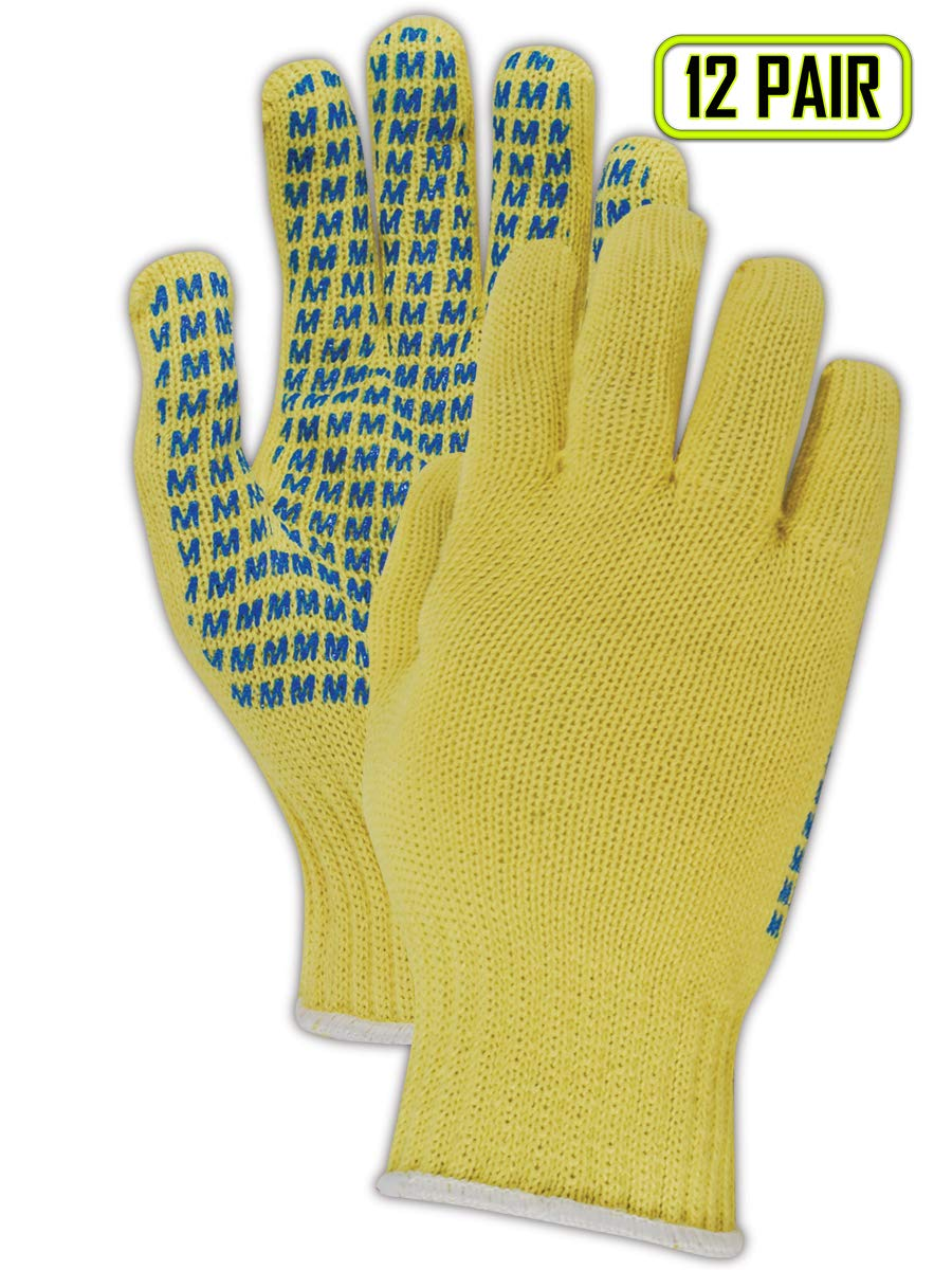 Magid Glove & Safety 96C-KEVRB Magid Cut Master''M'' Coated Machine Knit Gloves, Made with Dupont Kevlar 1000, 10, Yellow, Ladies (Fits Medium) (Pack of 12)