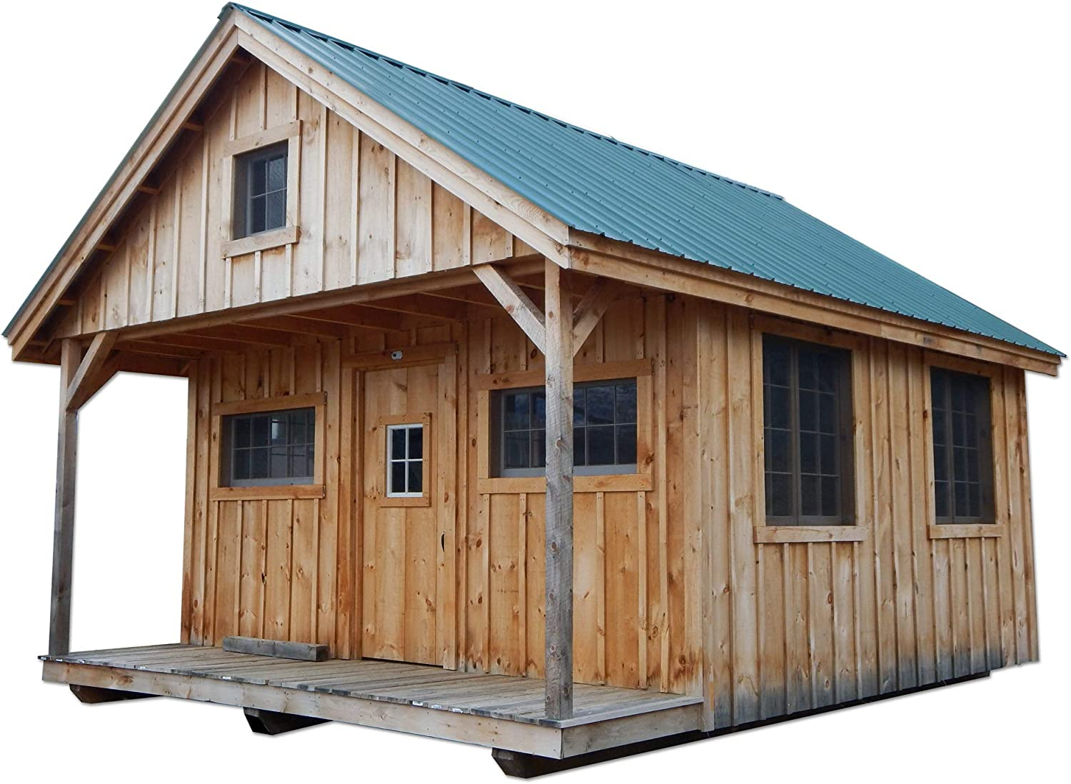 Pre-Cut Kit - 16x20 Timber Frame Post and Beam Vermont Cottage (C) with Loft Pre-Cut Kit with Step-by-Step DIY Plans