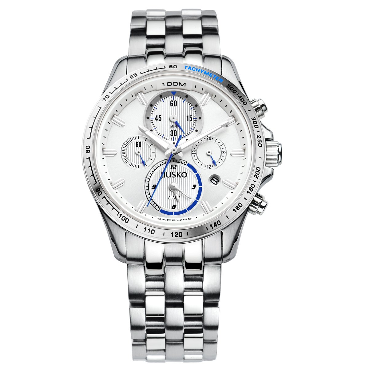 Jiusko Mens Multifunction Quartz Tachymeter Chronograph Silver Dress Watch - Sapphire - 24 Hr Dual Time - Alarm - Stainless Steel - Date - 108MS01 by JIUSKO