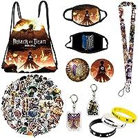 Attack on Titan Set Gift Set - Including Drawstring Bag Backpack, Attack on Titan Stickers, Attack on Titan M-asks…