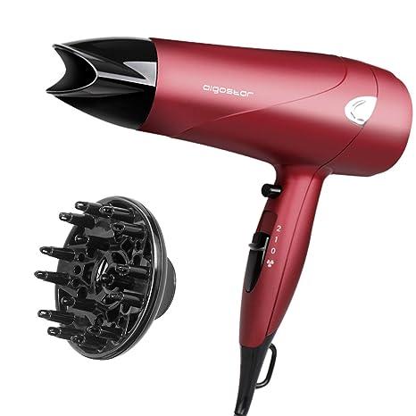 Aigostar Secador profesional de pelo en color rojo mate con difusor y accesorios. 2000 watios