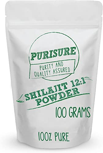 Purisure Shilajit Powder 12 1 Extract 100g 400 Servings , Restores Energy, Memory, Nutrient Absorption, Intelligence, Healthy Blood Sugar, Detox, Antioxidants
