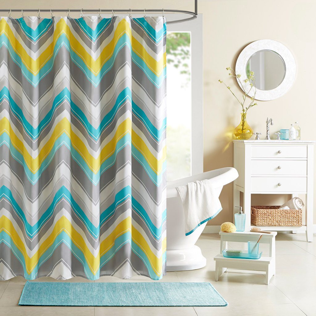 Intelligent Design ID70-199 Elise Shower Curtain, 72 x 72, Blue