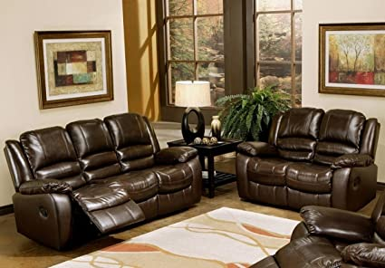 Amazon Com Abbyson Living Levari Reclining Leather Sofa And