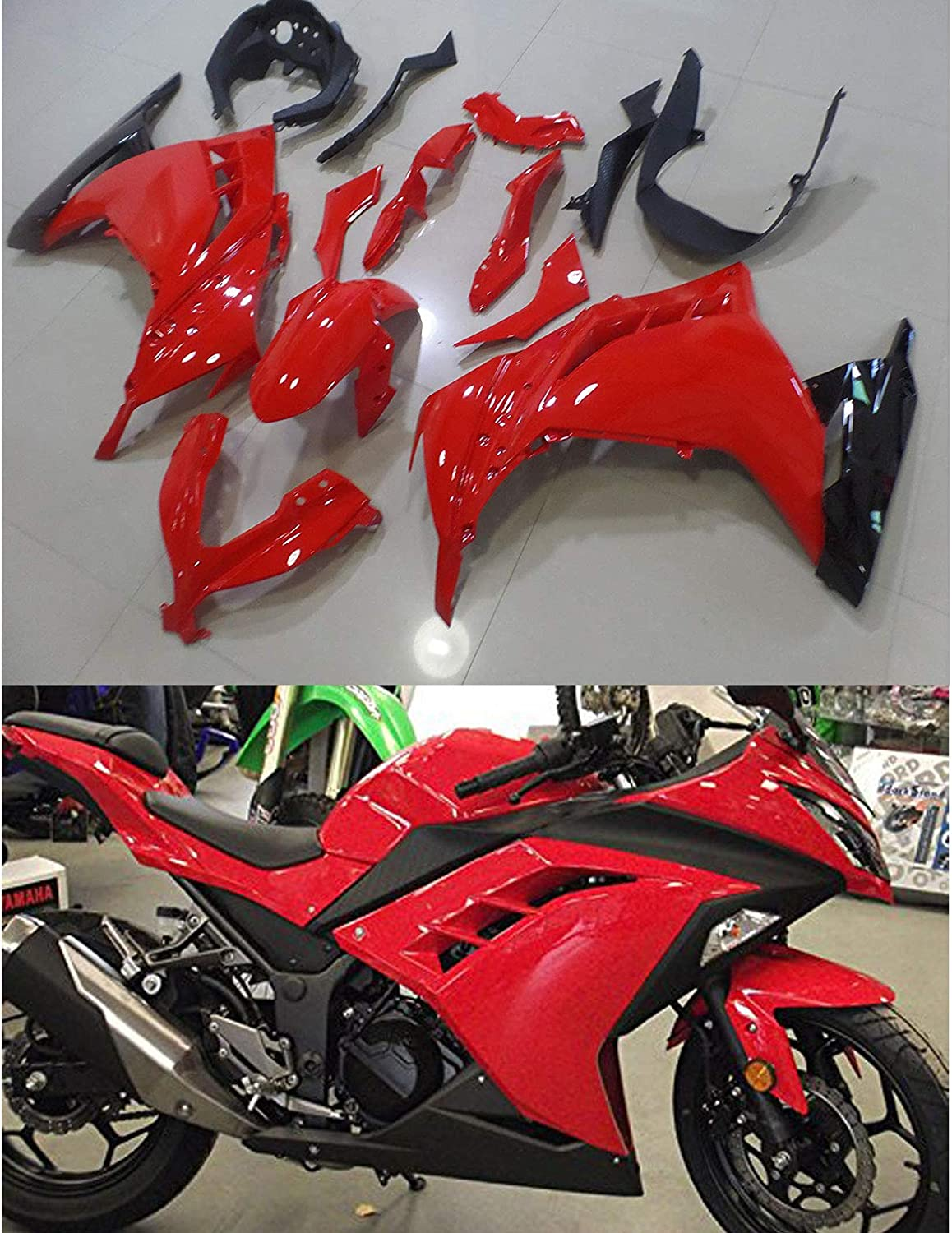 Moto Onfire ABS Plastic Fairings Kits Fit for Kawasaki Ninja 300 EX300R ZX300R 2013 2014 2015 2016 Red Black