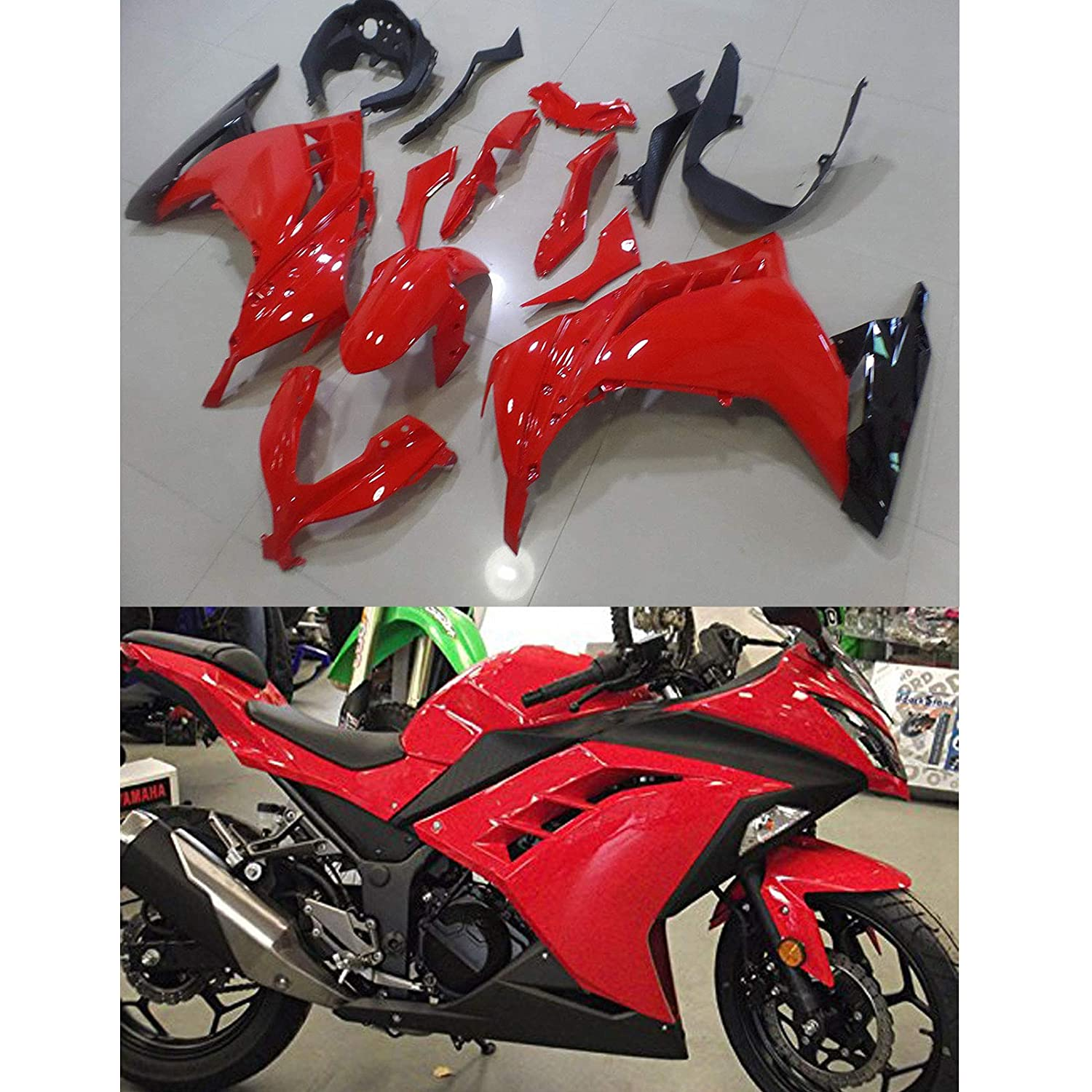 Moto Onfire Green & Black ABS Injection Fairings Kit Fit for Kawasaki Ninja 300 EX300R ZX300R 2013 2014 2015 2016