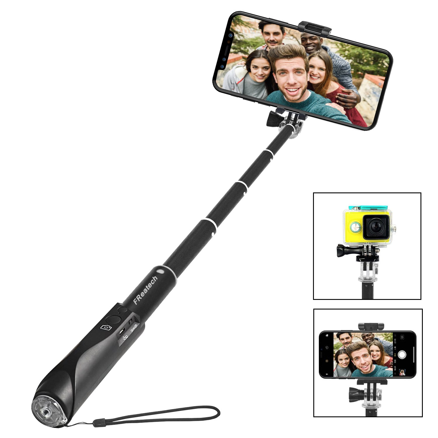 Bluetooth Selfie Stick, FReatech Non-Slip Extendable Handheld Monopod with Built-in Bluetooth Wireless Shutter for iPhone X/8/7/6s/6 Plus, Galaxy S9/S8 Plus/Note 8 and Other iOS, Android Smartphones