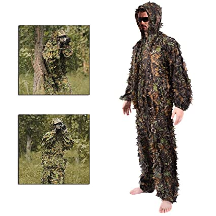 Amazon.com: Leaf Ghillie Suit Woodland Camo camuflaje ropa ...