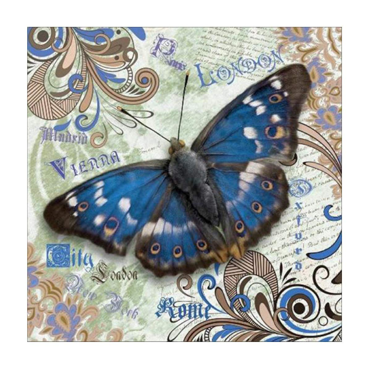 MXJSUA 5D Diamond Painting Full Round Drill Kits for Adults Pasted Embroidery Cross Stitch Arts Craft for Home Wall Decor Blue Butterfly 12x12in