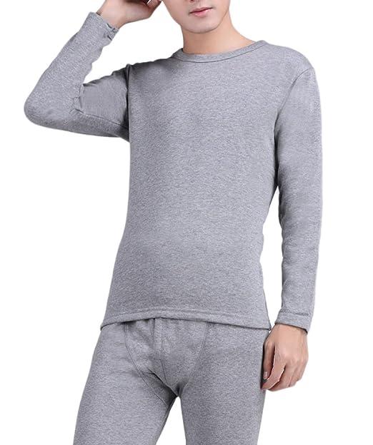 Ropa Interior para Hombres Invierno Ropa Interior Térmica Algodón Trajes Engomado Ropa Interior Larga Cuello Redondo