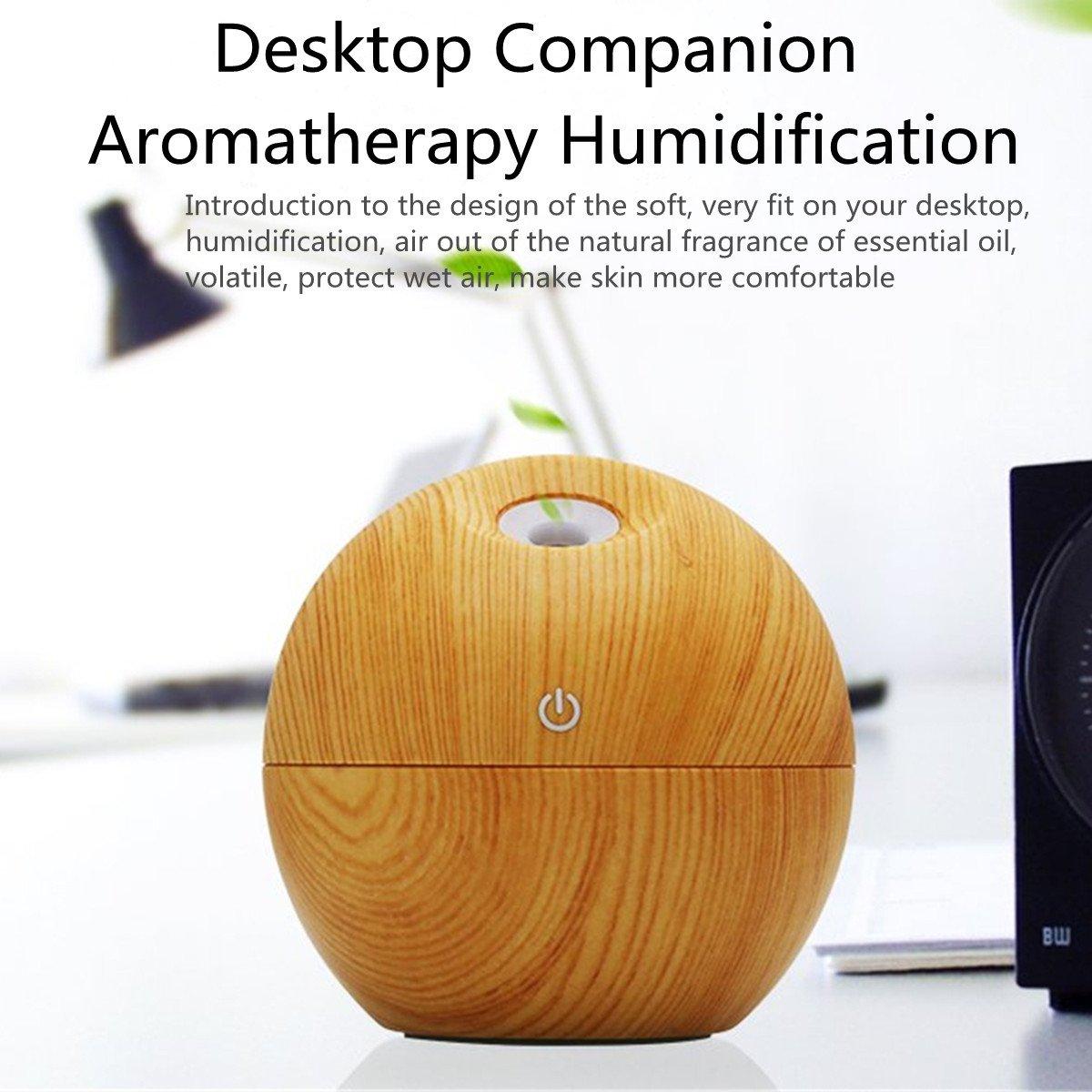 funciona por ultrasonido King Do Way Humidificador dise/ño redondo de madera difusor de aceites con funci/ón de aromaterapia con conector mini USB