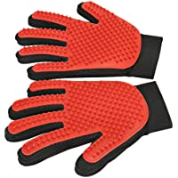 Pet Grooming Glove - Enhanced Five Finger Design - Gentle Deshedding Brush Glove - Efficient Pet Hair Remover Mitt for Dogs, Cats & Horses with Long & Short Fur (1 Pair (Red) - Upgrade Version)