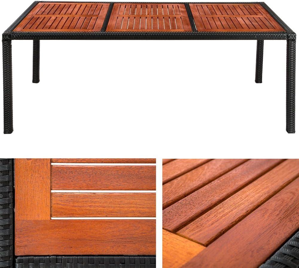 TecTake Salon de jardin 8+1 TABLE DE JARDIN EN RESINE TRESSEE CHAISES SALON DEXTERIEUR POLY ROTIN noir//brun