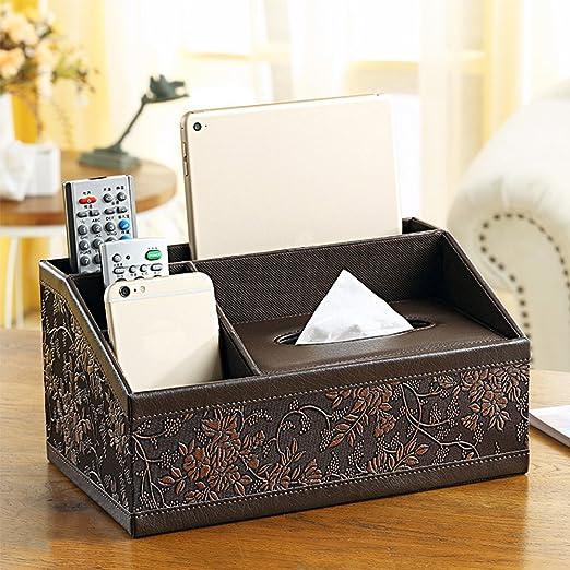 Yazi Vintage estilo caja de pañuelos flor tarjeta de oficina de piel sintética multifuncional Organizador de escritorio/pluma/lápiz/teléfono móvil/Control Remoto Caja de Kleenex soporte, 11 x 7 x 5inch: Amazon.es: Oficina y papelería