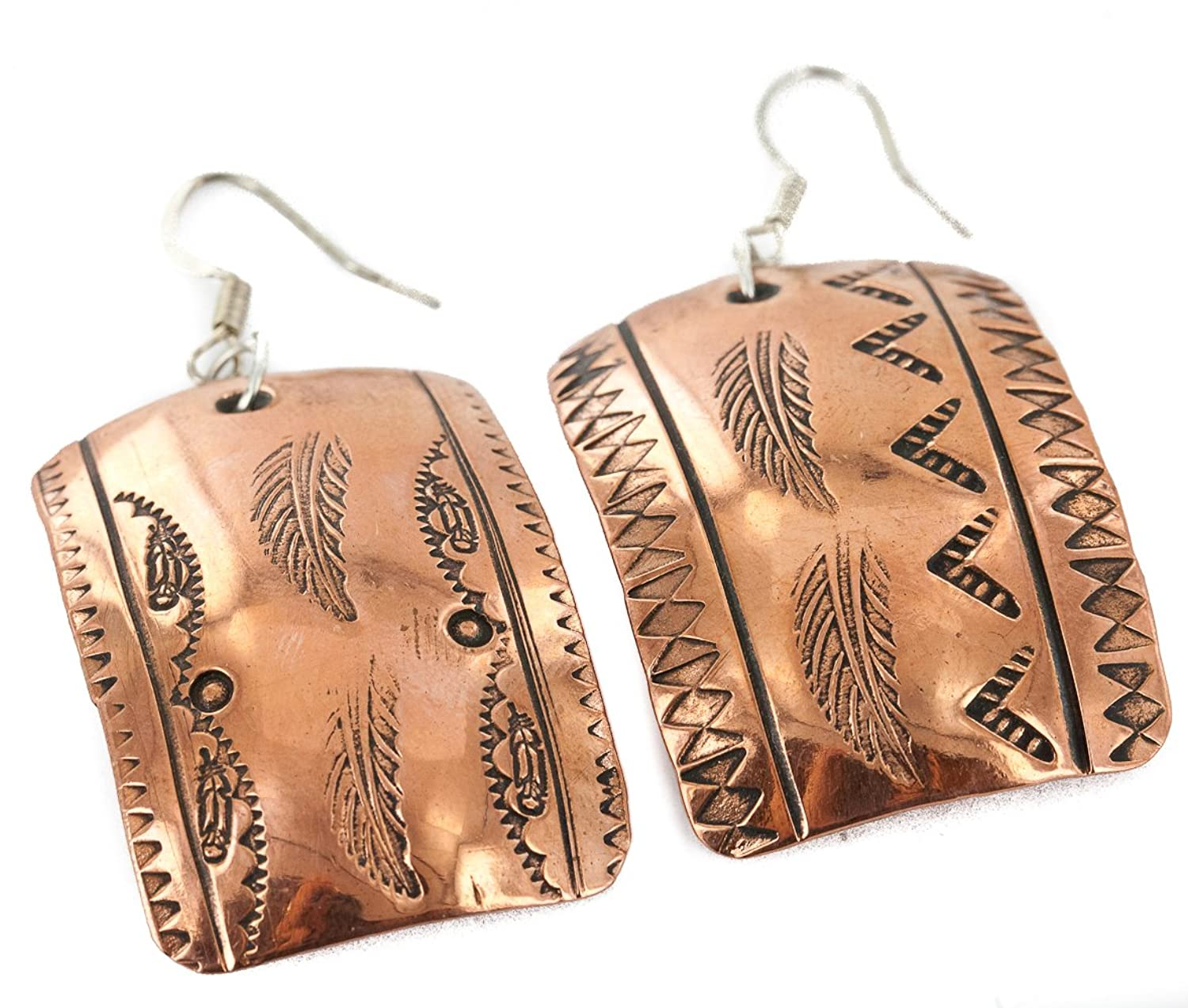 $100 Retail Tag Handmade Authentic Feather Made by Delores Little Navajo Handstamped Pure Copper Dangle Native American Earrings