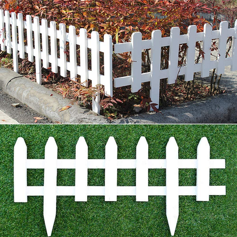 "uyoyous 2 Pack Wood Picket Fence 23.6"" Long Garden Lawn Border Edge Decoration Picket Fence,White"