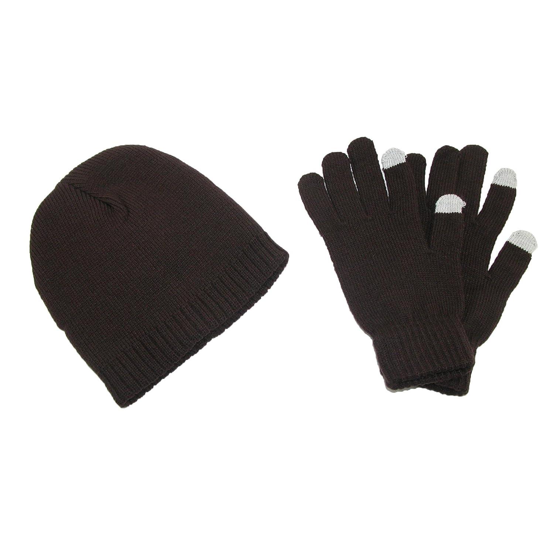 CTM Men's Solid Beanie Touch Screen Gloves Winter Set Brown RG-K2256-BRN