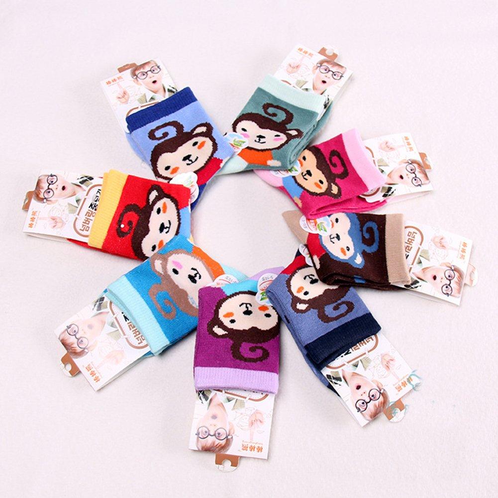 4 Pairs Baby Infant Toddler Girl Cute Monkey Multicolor Socks