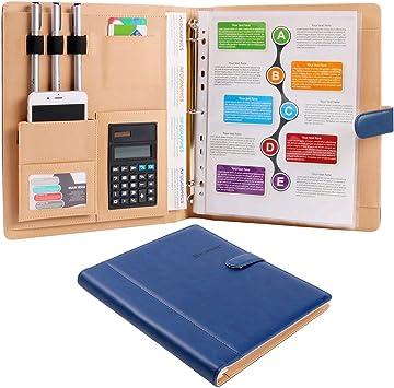 Plinrise High Grade Multifunction Letter Size Padfolio// Resume Portfolio Folder-Document Organizer Business Card Holder With Calculator And 8 File Pockets Blue