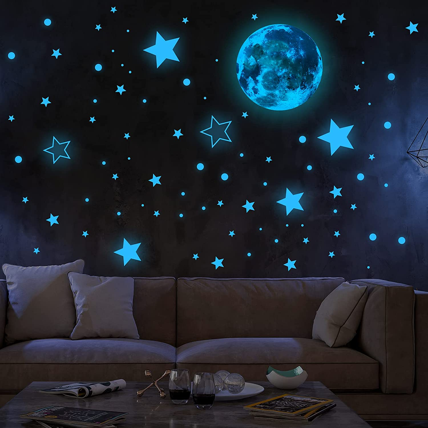 TRYAH Glow in The Dark Stars for Ceiling Decor, 1050 Pcs Glowing Wall Decals Decor Stickers Set, Dark Stars/Moon Stick Wall Decals for Home Party Kids Room(Fluorescent Blue)