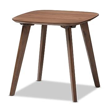Baxton Studio Dahlia Mid Century Modern Walnut Wood End Table,Walnut Brown