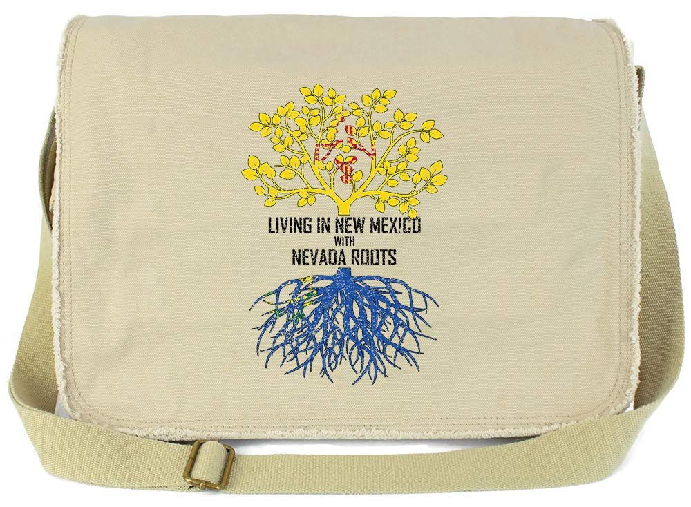 Tenacitee Living In New Mexico with Nevada Roots Grey Brushed Canvas Messenger Bag