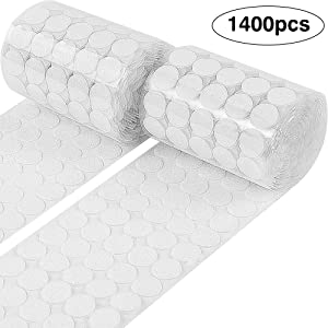 WXBOOM 1400pcs (700 Pairs) Hook & Loop Self Adhesive Dots Tapes 20mm Diameter Sticky Back Coins White