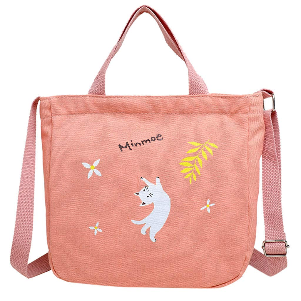 Arrowsy Women Bag Fashion Printed Canvas Bag Female Shoulder Messenger Bag Travel Bag (B)