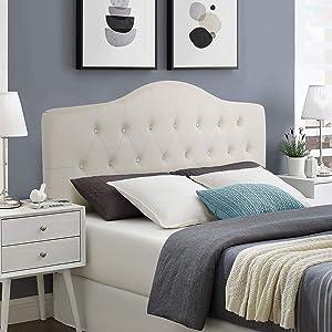 Adeco Beige Queen Headboard- Diamond Tufted Upholstered Headboard Panel for Queen Beds- Adjustable Height from 48'' to 52.5''- Cabecero tapizado Queen