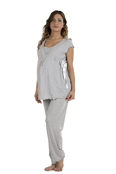 Premamy - Pijamas Pre-Post Natal - Color: gris - Talla: S