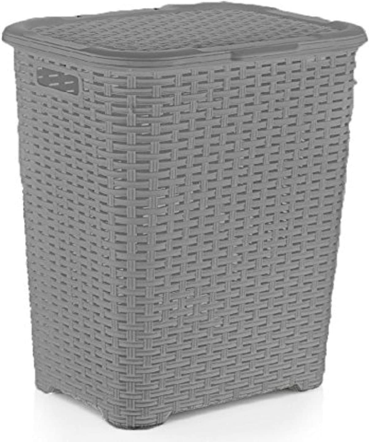 Superio Laundry Hamper Basket With Easy Open Lid 60 Liter Grey, Large Wicker Hamper, Dirty Cloths Storage With Two Cutout Handles, Laundry Room Bin