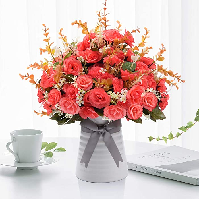 Artificial Flowers in Vase,Fall Flower Decoration Fake Silk Rose Flowers with Ceramic Vase Arrangements for Home, Kitchen, Table, Office, Wedding, Party Decoration (Light red)