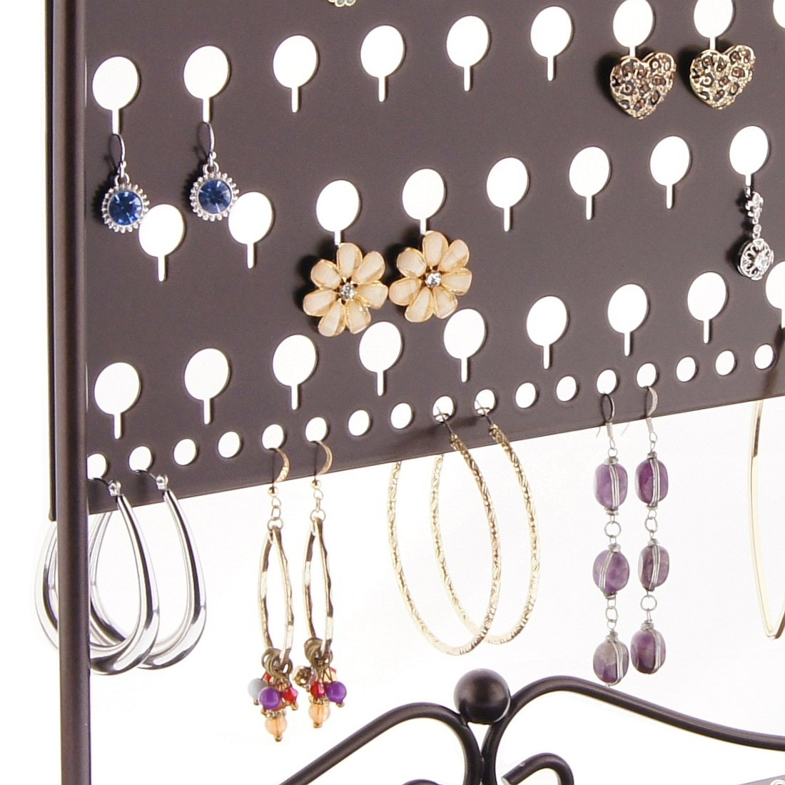 Earring Holder Organizer Stand Jewelry Organizer Hanging Earring Tree Storage Display Rack, Ginger Rubbed Bronze by Angelynn's Jewelry Organizers (Image #4)