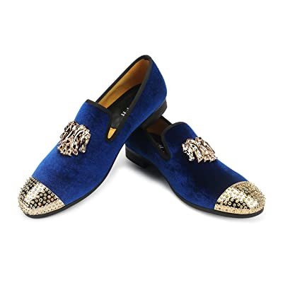 XQWFH Mens Loafers Velvet Dress Shoes with Gold Plate Smoking Slippers Slip on Penny Party Luxury Loafer Shoes for Men   Loafers & Slip-Ons