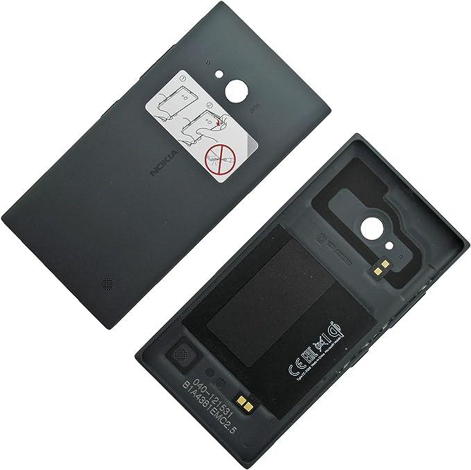 Tapa de batería para Nokia Lumia 735 Original (incluye antena NFC y módulo WLC para carga inalámbrica, rígida), color gris oscuro
