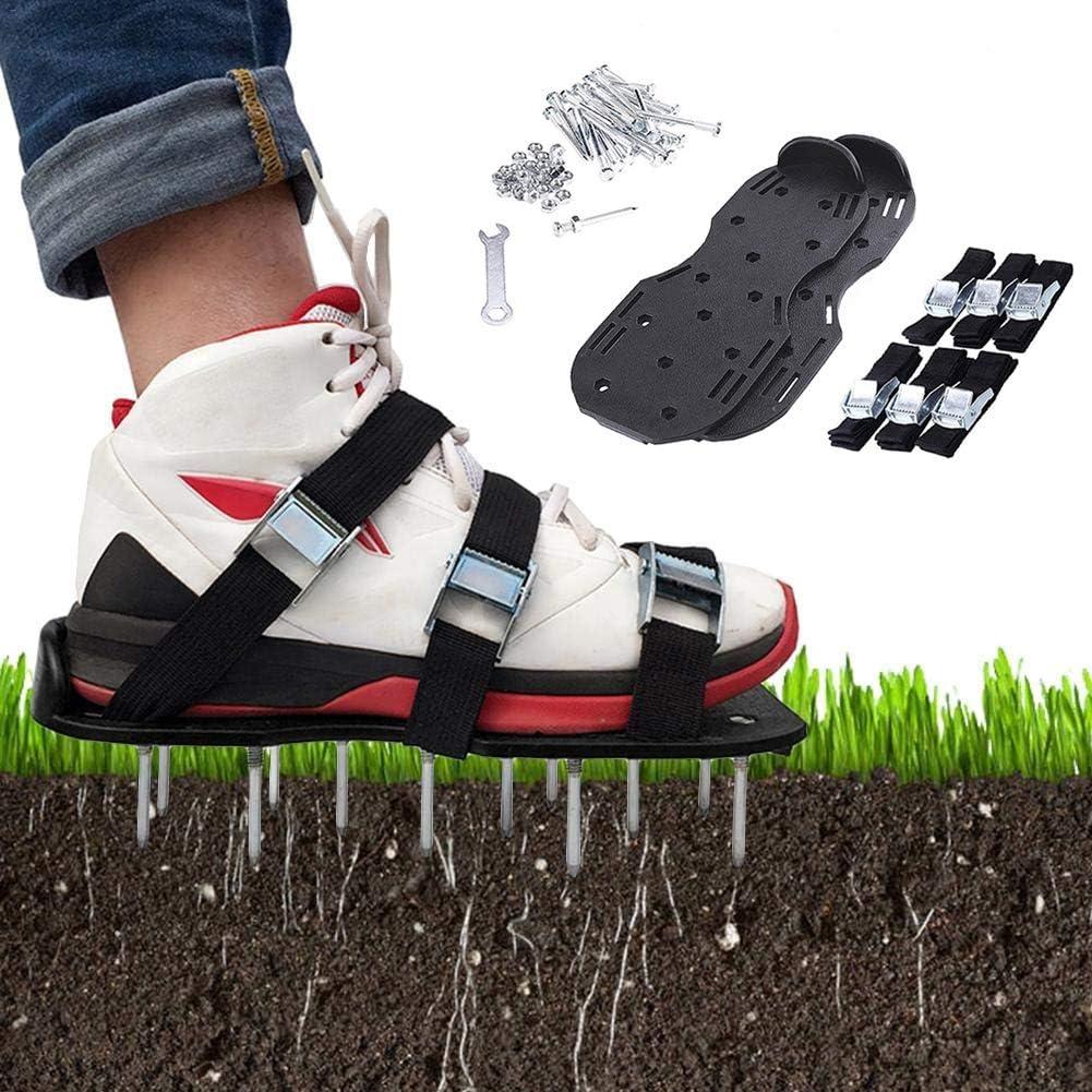 NANFENG Aireador de Cesped Zapatos, con 3 Correas Ajustables y Hebillas de Metal Duraderas Spikes Sandalias Escarificador para tu Césped, Jardín, Jardinería (Tamaño Universal),Black