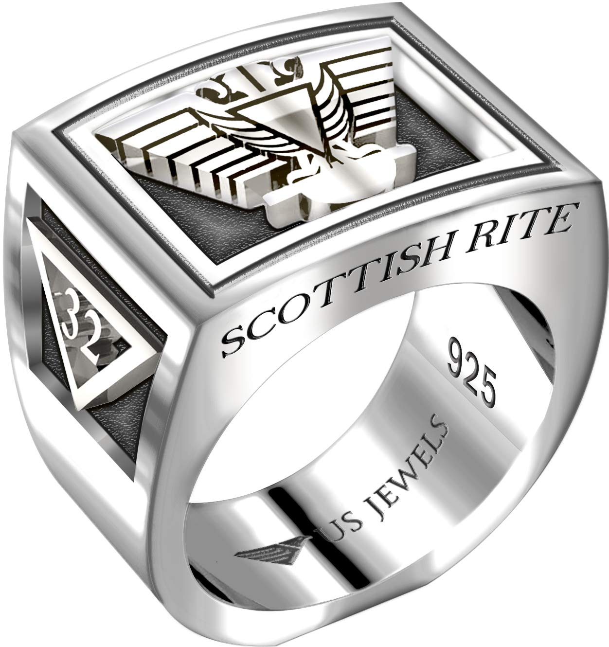 US Jewels And Gems Men's Heavy 0.925 Sterling Silver Freemason Scottish Rite Ring Band, Size 10 by US Jewels And Gems (Image #1)