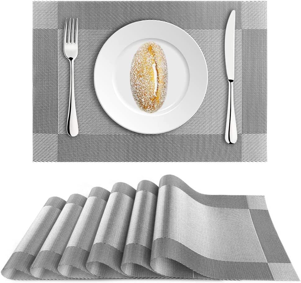 FALDAA Placemats for Dining Table, 6 Pcs Anti-Scalding Table Mats, Heat Insulation Stain Resistant Placemats for Dining Table Mats for Dining, Kitchen (18'' x 12'') (Silver Grey)