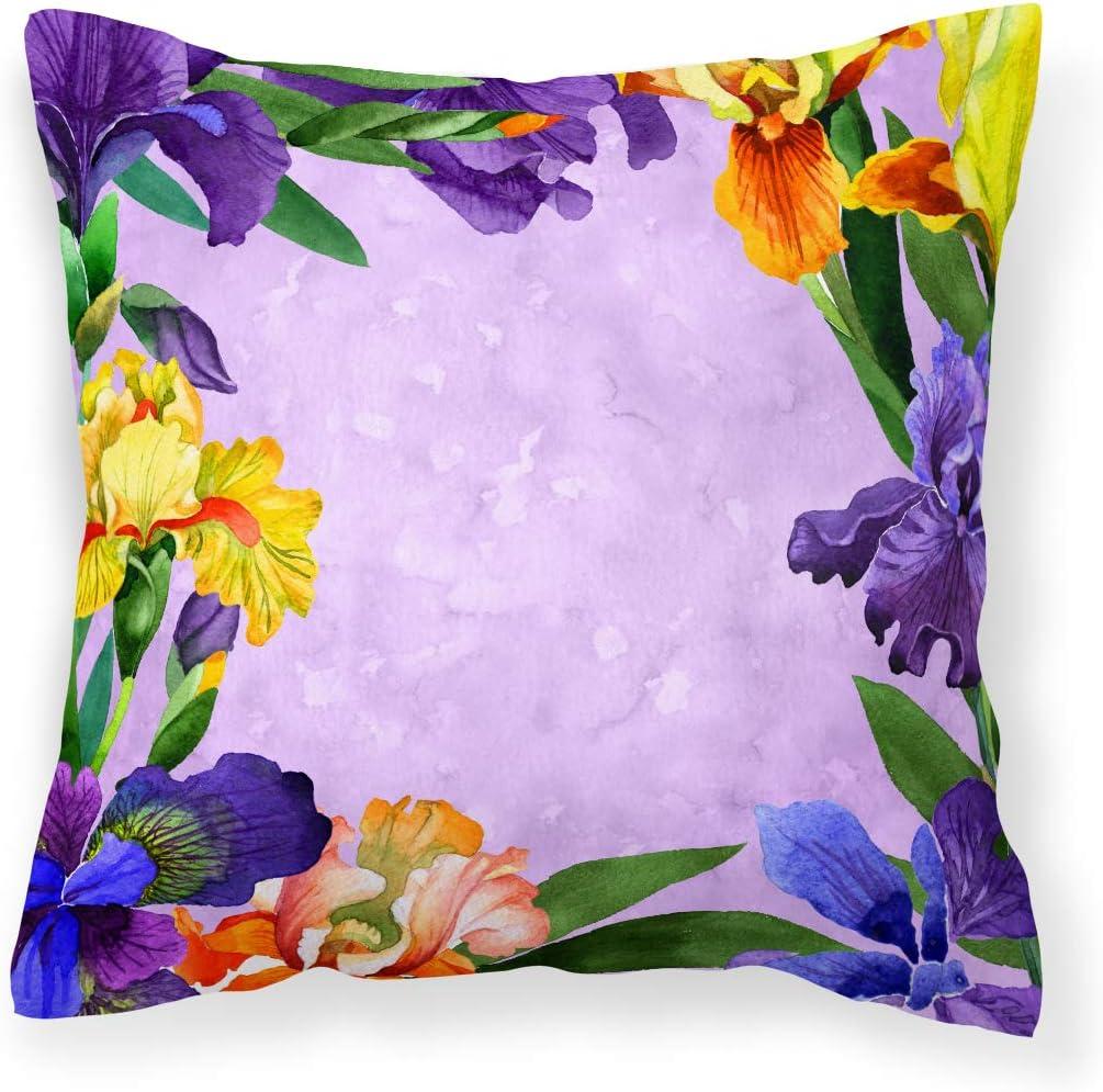 Caroline's Treasures CK1697PW1818 Irises Fabric Decorative Pillow Patio-Furniture-Pillows, Multicolor