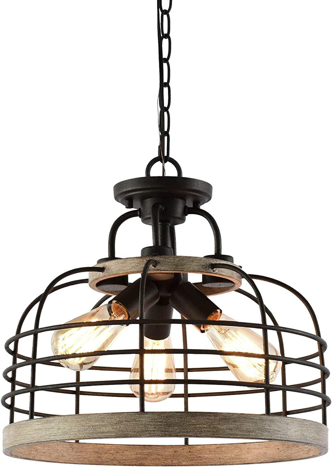 "Kira Home Wrightwood 16.5"" 3-Light Industrial Farmhouse Semi Flush Convertible Pendant Light with Cage Shade, White Wood Style + Textured Black Finish"