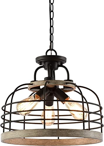 Kira Home Sawyer 16.5″ 3-Light Industrial Farmhouse Semi Flush Convertible Pendant Chandelier Light