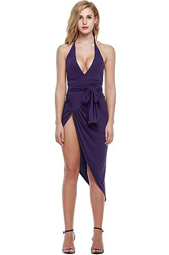 Zeagoo Women's Summer V Neck Backless High Slit Bandage Party Dress