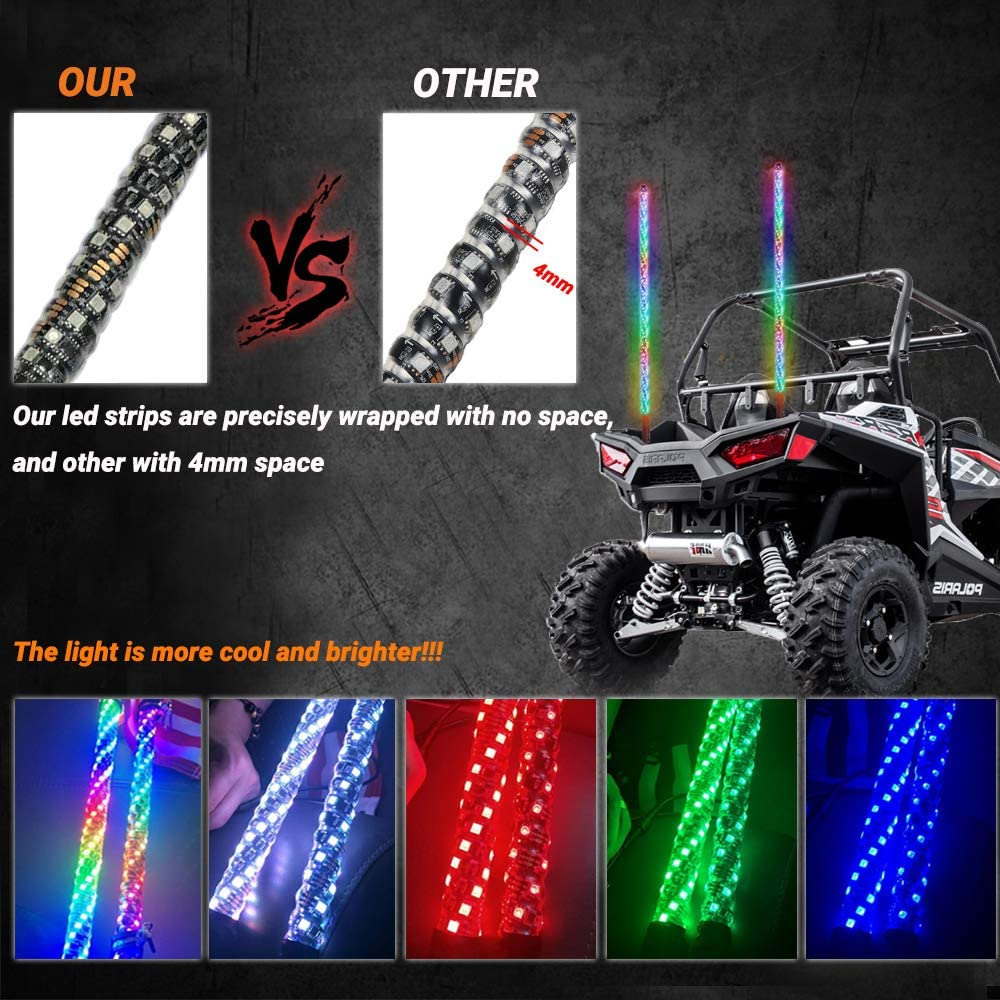 4FT-2PCS, Bluetooth 360/° Sprial Road Vehicle ATV UTV RZR Jeep Trucks Dunes Beatto RF Remote Controll RGB LED Whips Light With Dacning//Chasing Light LED Antenna Light For Off