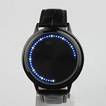 Men's Watches Led Touch Screen Watch Unique Cool Watch With Tree Pattern Simple Black Dial 60 Blue Lights Watch With Soft Black Leather Strap Complete In Specifications