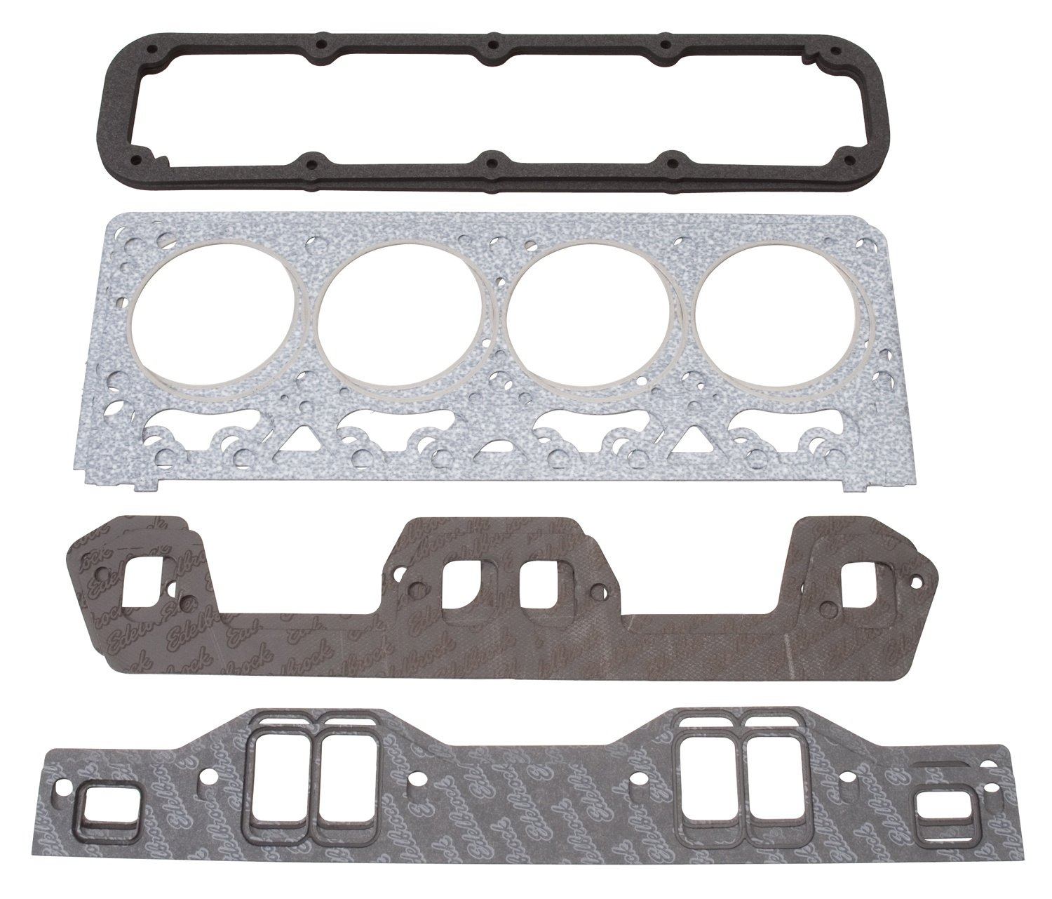 Edelbrock 7371 Cylinder Head Gasket Set Incl. Intake/Exhaust/Head/Waterneck/Distributor/Valve Cover Gaskets Cylinder Head Gasket Set