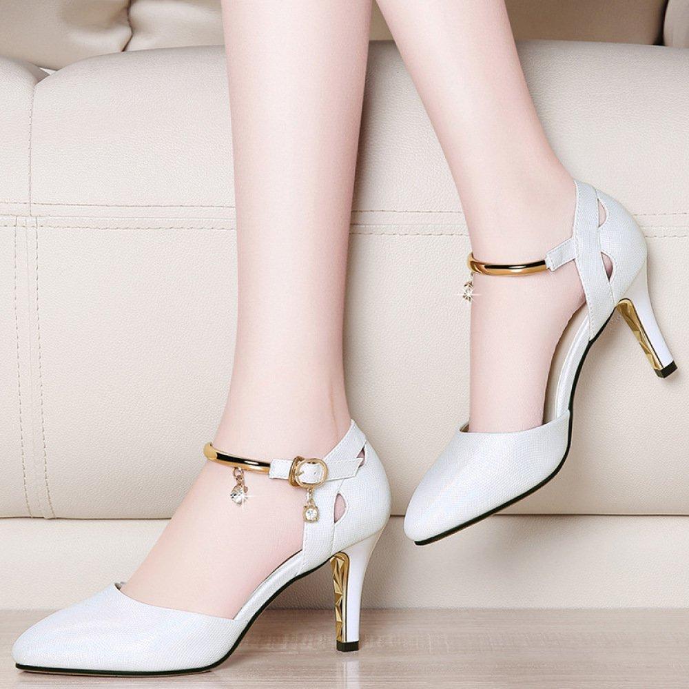 Frauen Sandalen High Heels Knöchelriemen Schnallen Sandalen Frauen Pumps Damen Stiletto Schuhe Für Kleid Hochzeit Weiß acc93e