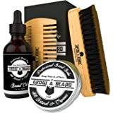 Beard Brush & Comb Set w/ Beard Scissors Grooming Kit, Beard Brush For Men, Natural Boar Bristle Beard Brush, Men's Beard Bru