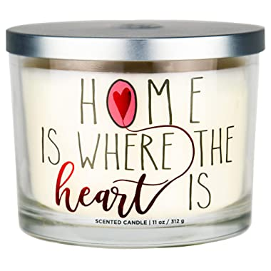 Aromascape  Home is Where the Heart Is  3-Wick Scented Candle (Brown Sugar Pecan, Cinnamon Bark, and Nutmeg), 11-Ounce